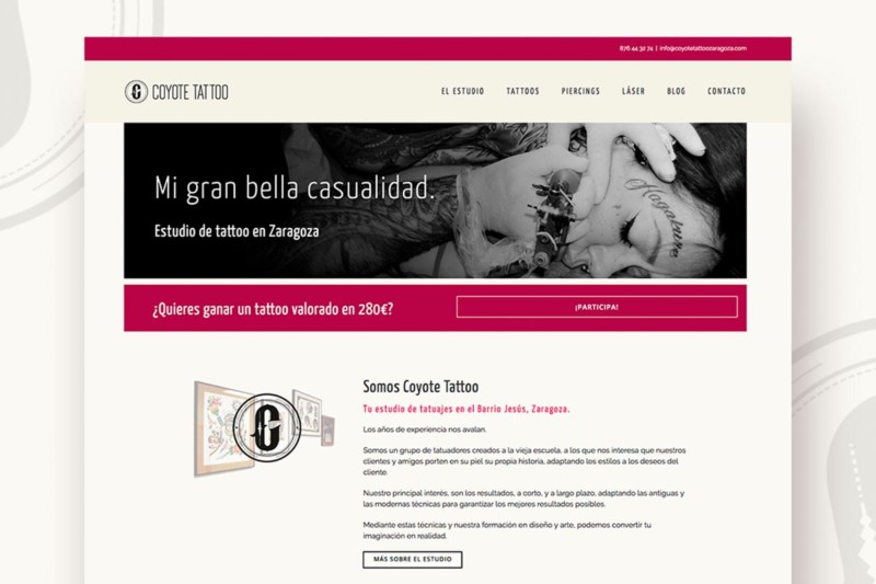 Web Coyote Tattoo Estudio de tatuajes en Zaragoza