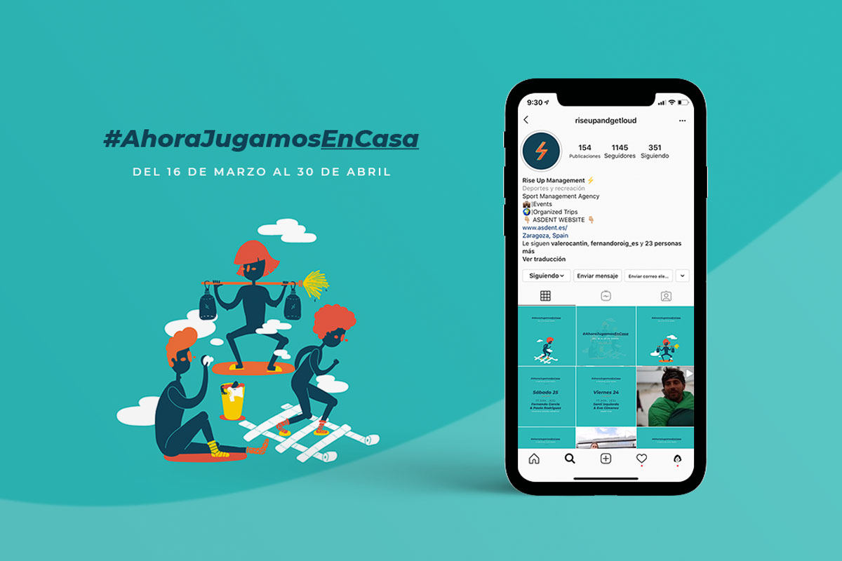 #AhoraJugamosEnCasa diseño campaña RRSS evento Online RiseUp Management + HuracanEstudio